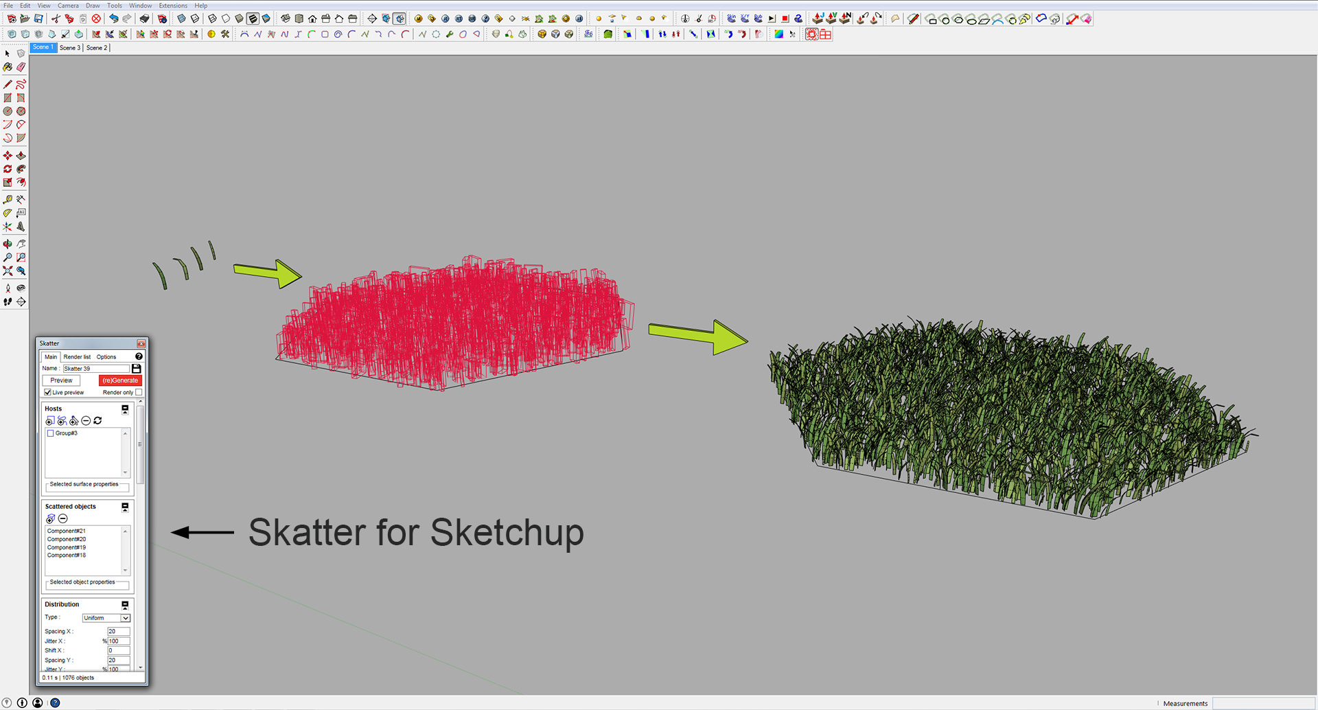 Sketchup making of grass bundle